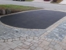Asphalt driveway with interlock walkway and banding. Design by Rhonda Derue installation by Yards Unlimited Landscaping Inc.