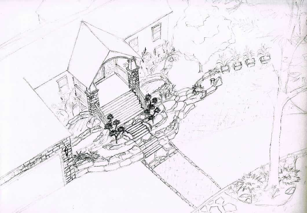 Concept Sketch of House Front Yard