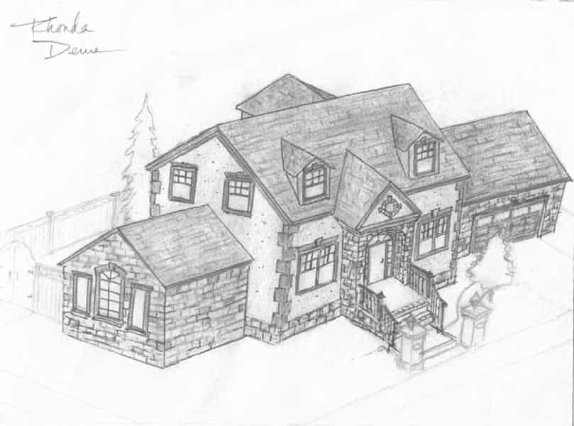 Concept Sketch of Stone House Design