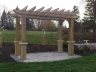 Wood Pergola swing structure with patio base