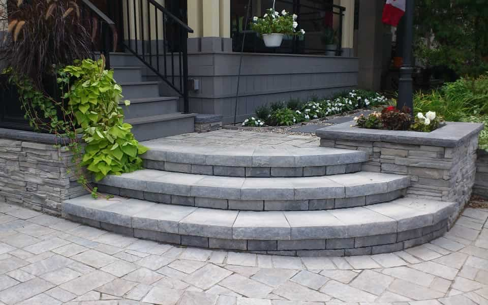 Walkways and steps for Curved garden wall designs