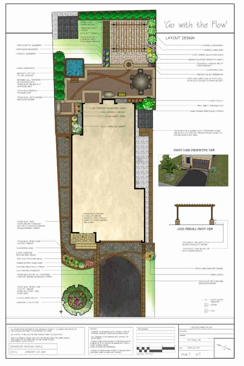 Plans for Front and Back Yard, including Patio and Driveway Design